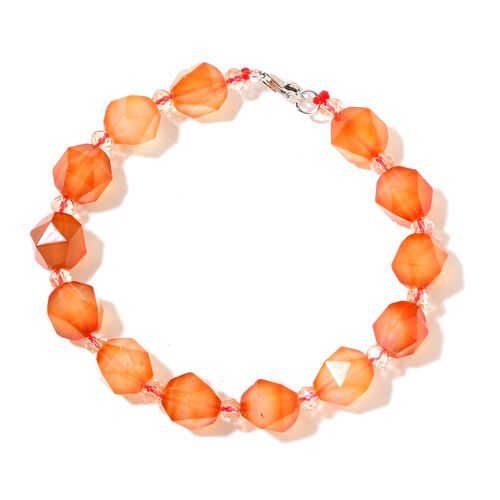 Orange Agate Bracelet (Size 7) in Rhodium Plated Sterling Silver 70.000 Ct.