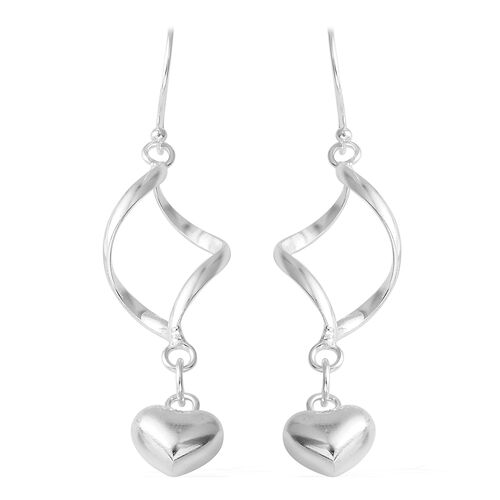 Sterling Silver Heart Drop Hook Earrings. Silver wt. 5.50 Gms.