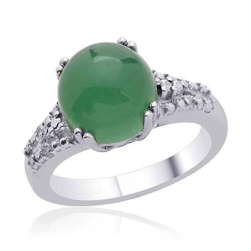 Emerald Quartz (Rnd 4.50 Ct), Diamond Ring in Platinum Overlay Sterling Silver 4.550 Ct.