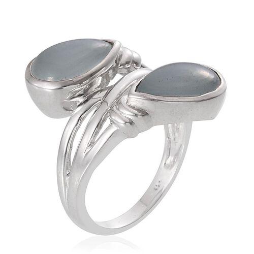 Espirito Santo Aquamarine (Pear) Crossover Ring in Platinum Overlay Sterling Silver 6.500 Ct.