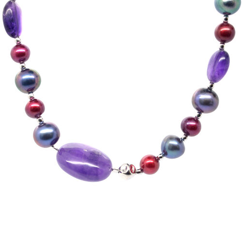 Fresh Water Peacock and Burgandy Pearl, Amethyst Sterling Silver Necklace (Size 36) 161.500 Ct.
