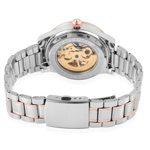 GENOA Automatic Skeleton White Austrian Crystal Studded White Dial Watch in Silver and Rose Gold Tone