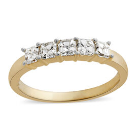 First Time Ever - ILIANA 18K Yellow Gold IGI Certified Diamond (Asscher Cut) (VS/G-H) 5 Stone Ring 1.000 Ct.