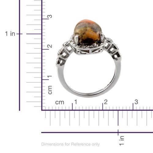Bumble Bee Jasper (Pear 4.00 Ct), Diamond Ring in Platinum Overlay Sterling Silver 4.050 Ct.