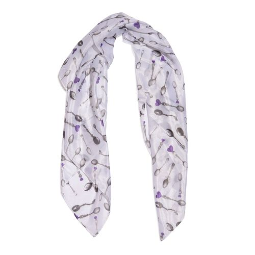 TJC One for One Special - Spoons Printed White Colour Scarf (Size 70x70 Cm)