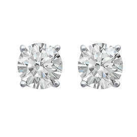 ILIANA 18K White Gold AGI Certified Diamond (Rnd) (SI/G-H) Stud Earrings (with Screw Back) 0.500 Ct.