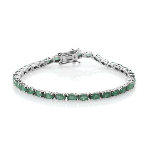 AA Kagem Zambian Emerald (Ovl) Bracelet (Size 7.5) in Platinum Overlay Sterling Silver 7.500 Ct.