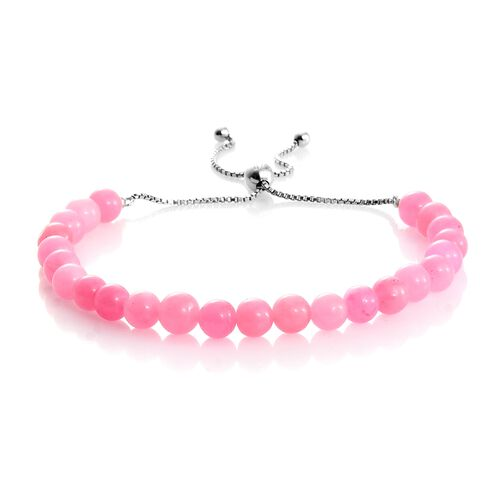 Pink Jade Ball Beads Adjustable Bracelet (Size 6.5 to 8.5) and Stud Earrings (with Push Back) in Rhodium Plated Sterling Silver 36.480 Ct.