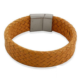 Camel Leather Bracelet (Size 7.5) in Stainless Steel