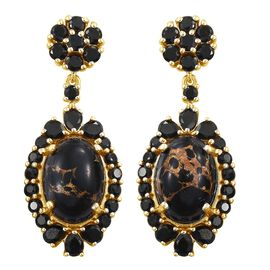 Mojave Black Turquoise (Ovl), Boi Ploi Black Spinel Earrings (with Push Back) in 14K Gold Overlay Sterling Silver 19.000 Ct.