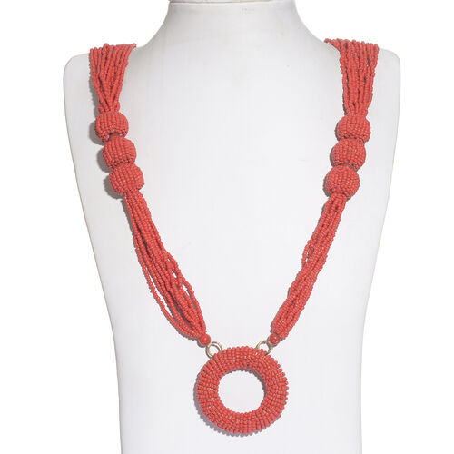 Red Colour Seed Beads Necklace (Size 30 with 2 inch Extender) in Gold Tone