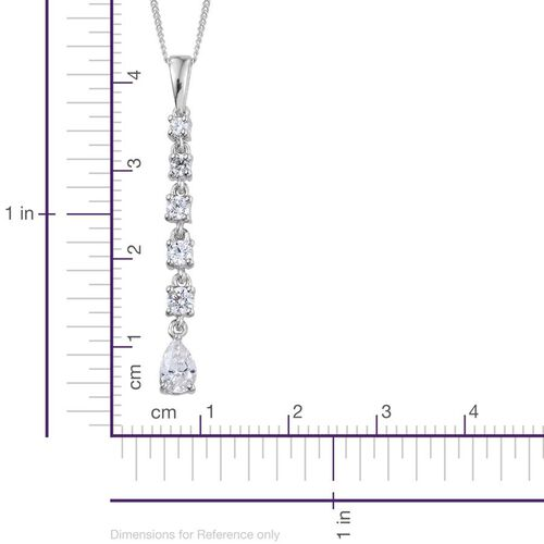 J Francis - Platinum Overlay Sterling Silver (Pear) Pendant With Chain Made with SWAROVSKI ZIRCONIA