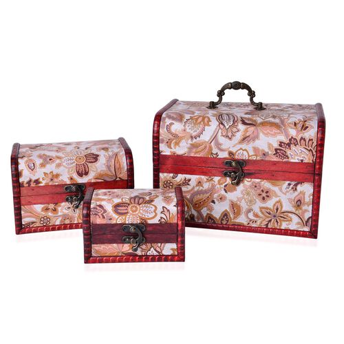 Set of 3 - Handcrafted Brown Colour Floral Pattern Vintage Style Jewellery Box (Large 22X16X15.5 Cm), (Medium 16X11X10.5 Cm) and (Small 12X7.5X7.5 Cm)