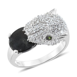 Spectrolite (Ovl 2.08 Ct), Natural Cambodian Zircon and Russian Diopside Leopard Ring in Platinum Overlay Sterling Silver 3.750 Ct. Silver wt 5.60 Gms.