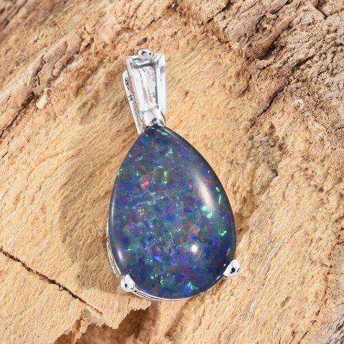 Australian Boulder Opal (Pear), White Topaz Pendant in Platinum Overlay Sterling Silver 3.500 Ct.