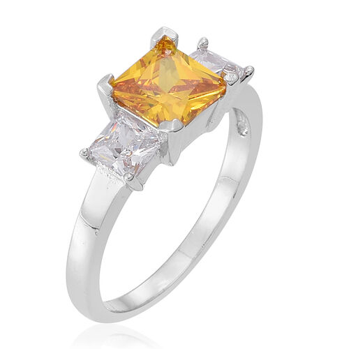ELANZA AAA Simulated Citrine (Sqr), Simulated White Diamond Ring in Rhodium Plated Sterling Silver