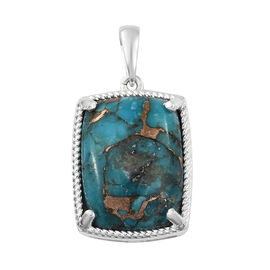 One Time Deal- Mojave Blue Turquoise (Cush 20x15 mm) Pendant in Sterling Silver 18.000 Ct,