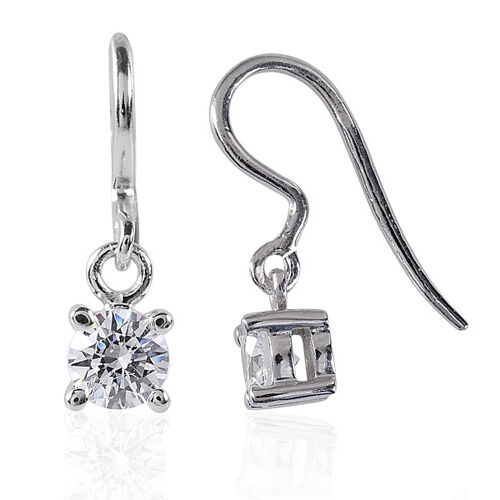 Mega Deal J Francis- Platinum Overlay Sterling Silver (Rnd) Earrings Made with SWAROVSKI ZIRCONIA 0.560 Ct.