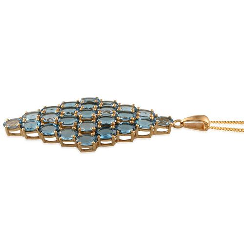 Electric Swiss Blue Topaz (Ovl) Cluster Pendant With Chain in 14K Gold Overlay Sterling Silver 11.250 Ct.