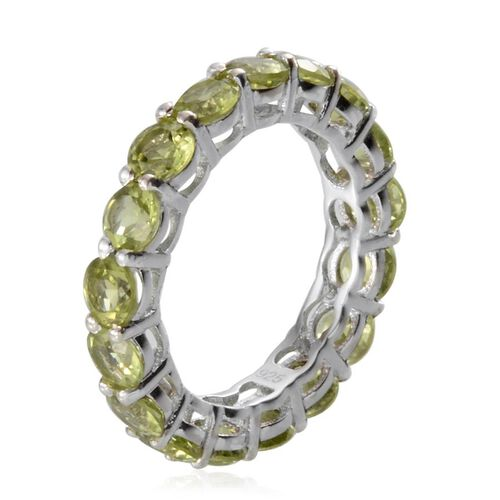 Platinum Plated Silver 4.75 Carat Hebei Peridot Full Eternity Ring