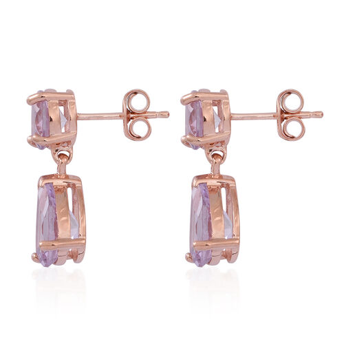 Rose De France Amethyst (Pear) Earrings (with Push Back) in 14K Rose Gold Overlay Sterling Silver 5.000 Ct.