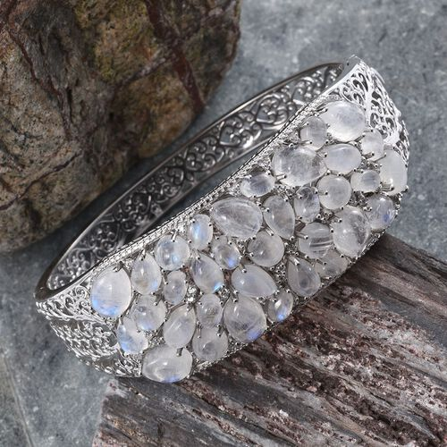 Natural Rainbow Moonstone (Pear), Natural Cambodian Zircon Bangle (Size 7.5) in Platinum Overlay Sterling Silver 40.000 Ct.
