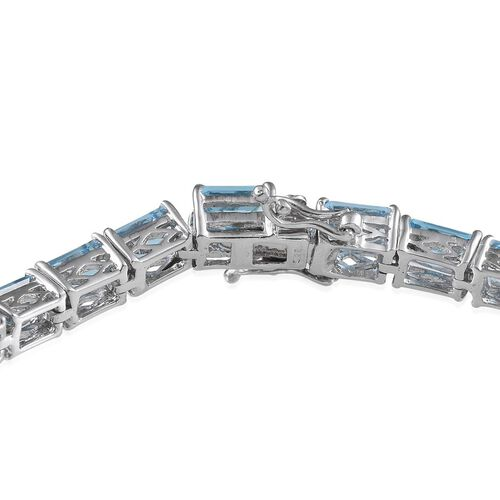 Electric Swiss Blue Topaz (Oct) Bracelet in Platinum Overlay Sterling Silver (Size 8) 26.000 Ct.