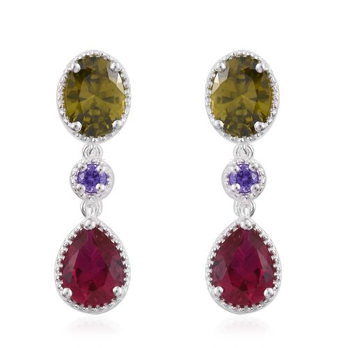 ELANZA AAA Simulated Peridot (Ovl), Simulated Ruby and Simulated Tanzanite Earrings (with Push Back) in Sterling Silver