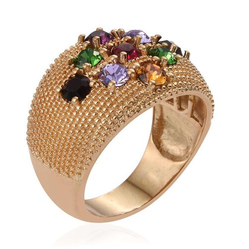 J Francis Crystal from Swarovski - Amethyst Colour Crystal (Rnd), Topaz Colour Crystal, Garnet Colour Crystal, Ruby Colour Crystal and Multi Colour Crystal Ring in ION Plated 18K Yellow Gold Bond
