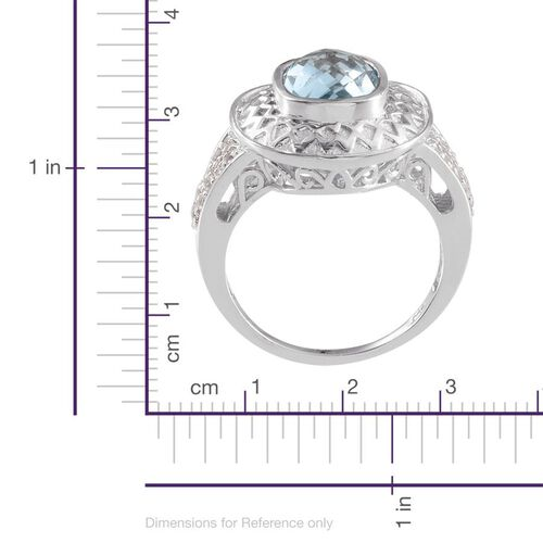 Sky Blue Topaz (Cush 4.00 Ct), White Topaz Ring in Platinum Overlay Sterling Silver 4.500 Ct.