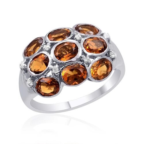 Madeira Citrine (Ovl), Diamond Ring in Platinum Overlay Sterling Silver 2.790 Ct.