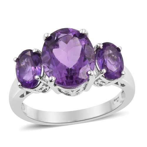 Natural Uruguay Amethyst (Ovl 3.25 Ct) 3 Stone Ring in Platinum Overlay Sterling Silver 4.750 Ct.