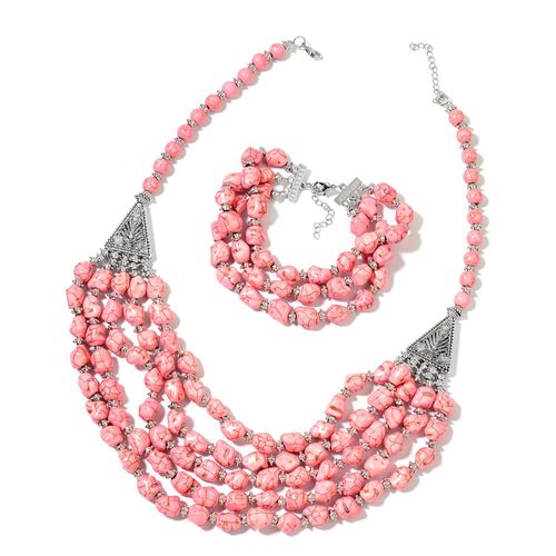 Pink Howlite Necklace (Size 20 with 2 inch Extender) and Bracelet (Size 7.5 with 2 inch Extender) 950.00 Ct.