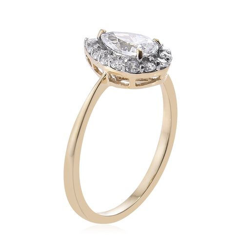 J Francis - 9K Yellow Gold Pear Halo Ring Made with SWAROVSKI ZIRCONIA