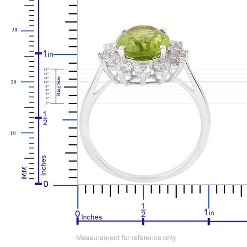 Hebei Peridot (Ovl 3.75 Ct), White Zircon Ring in Platinum Overlay Sterling Silver 5.750 Ct.