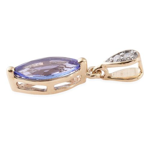 9K Yellow Gold 1.10 Carat AA Tanzanite with Diamond (I3/ G-H) Pendant