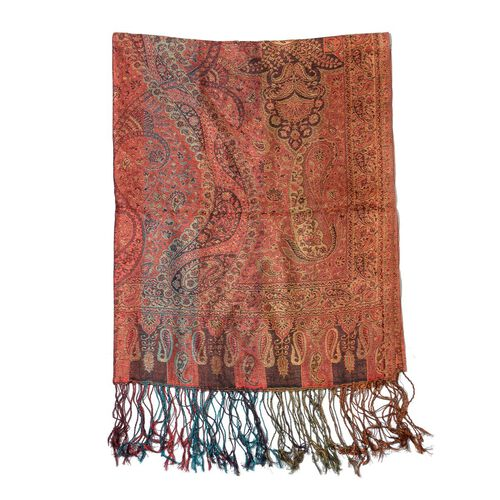 100% Superfine Silk Multi Colour Jacquard Jamawar Scarf with Fringes (Size 70x180 Cm) (Weight 125 - 140 Grams)