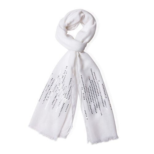 Silver Sequins Embellished White Colour Scarf with Fringes (Size 180X70 Cm)