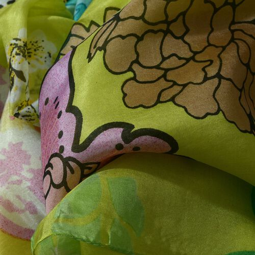 100% Mulberry Silk Multi Colour Floral Pattern Lime Colour Scarf (Size 180x100 Cm)