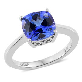 Collectors Edition- ILIANA 18K White Gold Very Rare Size AAA Tanzanite (Cush) Solitaire Ring 2.750 Ct.