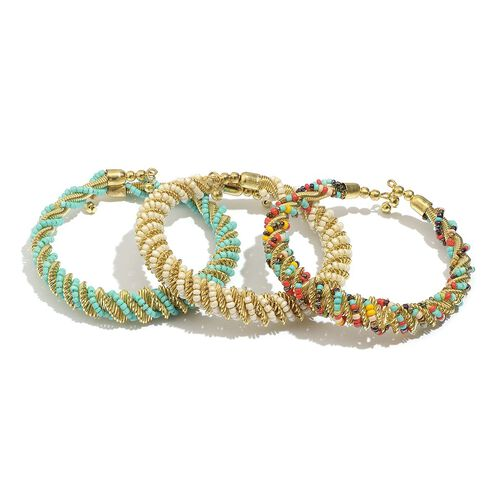Set of 3 - White, Green and Multi Colour Seed Beaded Bangle in Gold Tone