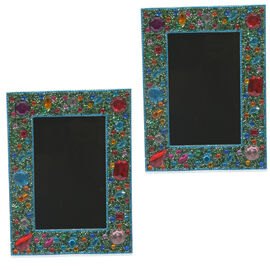 Home Decor - Handcrafted Red, Green and Multi Colour Beads Embellished Photo Frame (Size 4X6 inch)
