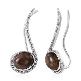 Chocolate Sapphire (Ovl), Diamond Climber Earrings in Platinum Overlay Sterling Silver 8.129 Ct.