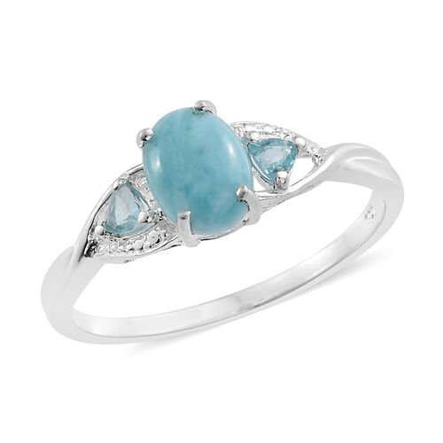 Larimar (Ovl 1.50 Ct), Paraiba Apatite Ring in Sterling Silver 1.750 Ct.