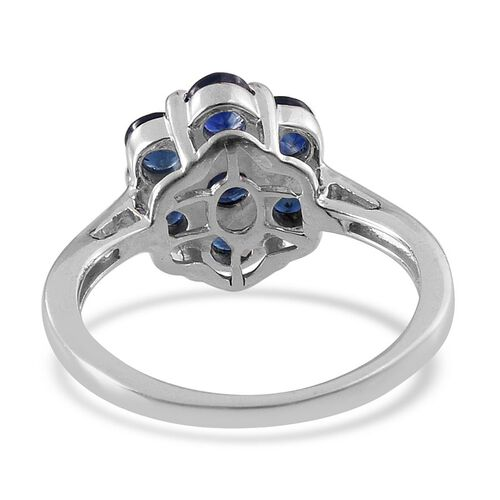 Kanchanaburi Blue Sapphire (Rnd) 7 Stone Floral Ring in Platinum Overlay Sterling Silver 1.750 Ct.