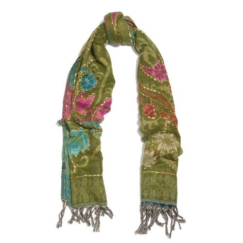 Hand Embroidered Adda Work from India - Green, Red and Multi Colour Floral Pattern Hand Embroidered Scarf with Tassels (Size 200X67 Cm)