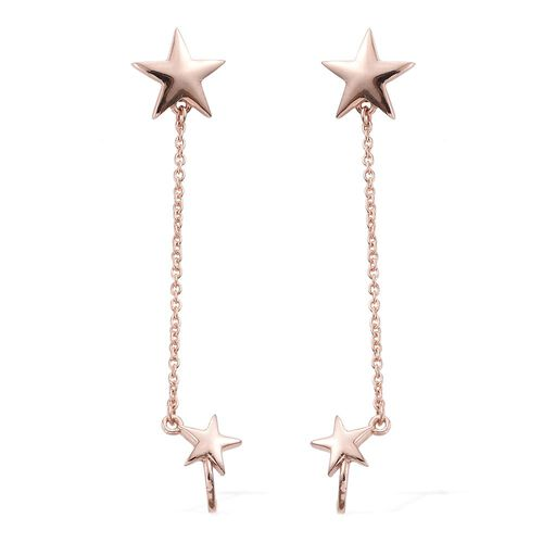 Rose Gold Overlay Sterling Silver Star Dangle Earrings (with Push Back), Silver wt. 3.69 Gms.