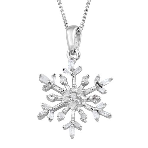 Diamond (Rnd) Starburst Pendant with Chain in Platinum Overlay Sterling Silver 0.150 Ct.