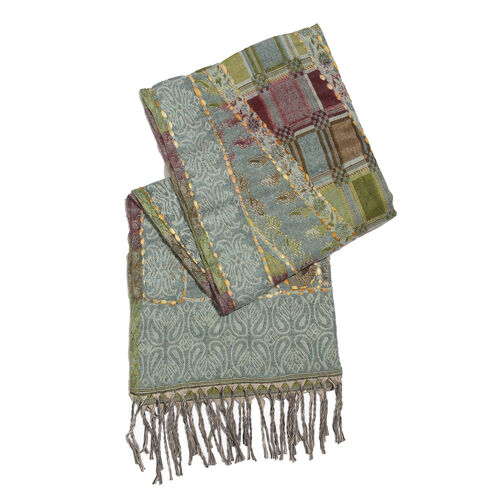 Hand Embroidered Adda Work from India -  Grey, Green and Multi Colour Floral Pattern Scarf with Tassels (Size 200X67 Cm)