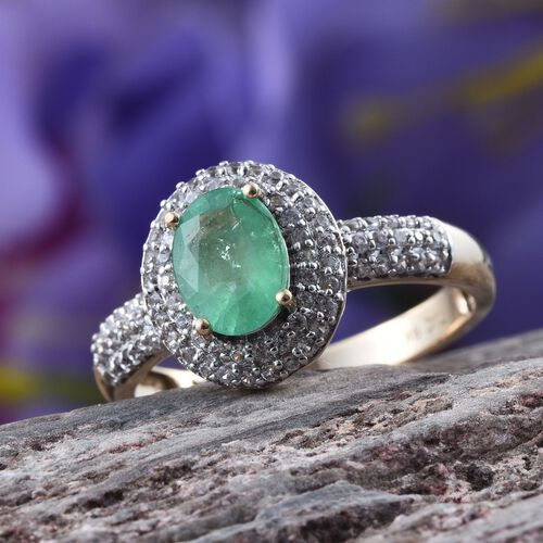 GP 9K Y Gold Boyaca Colombian Emerald (Ovl 1.00 Ct), Natural Cambodian Zircon and Kanchanaburi Blue Sapphire Ring 1.750 Ct.